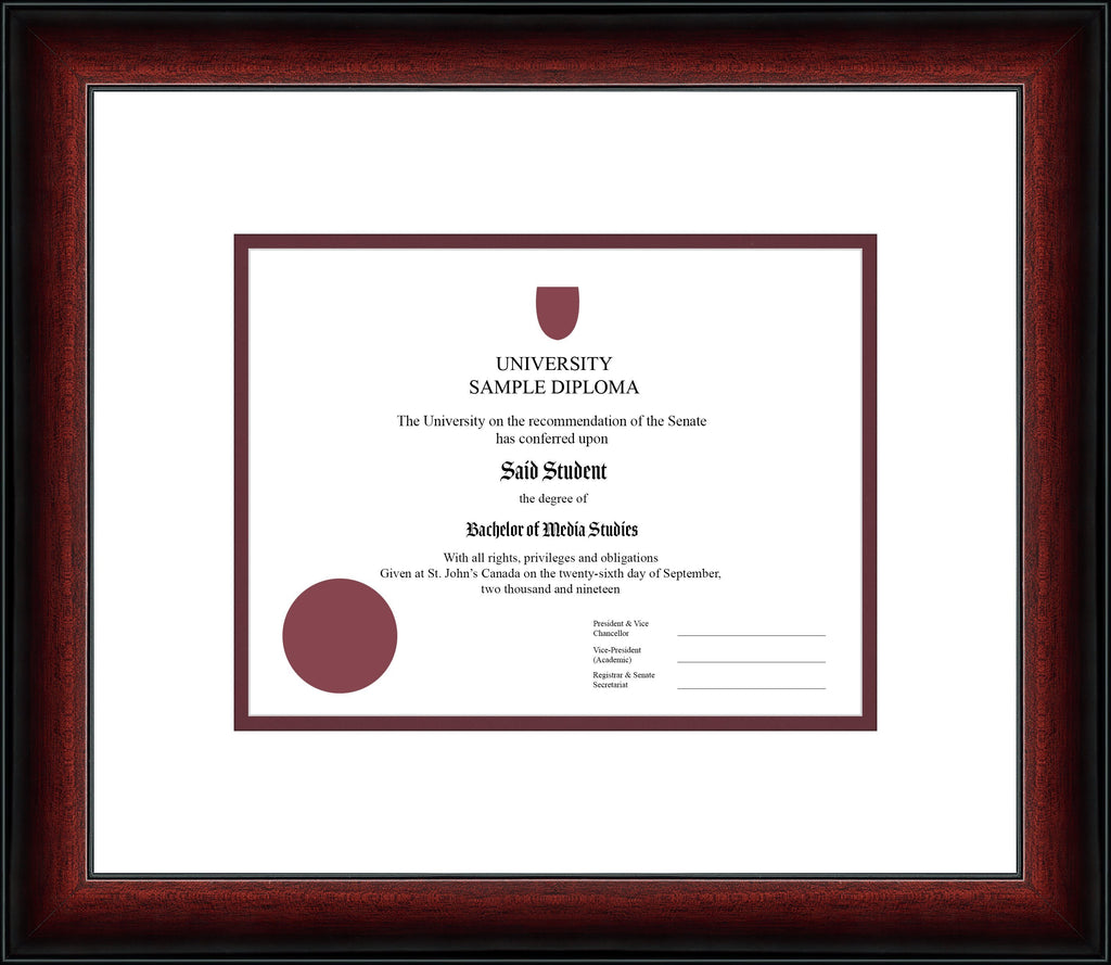 Cherry Classic Diploma Frame - Curbisde Drop Off Newfoundland Canvas White Maroon Regular