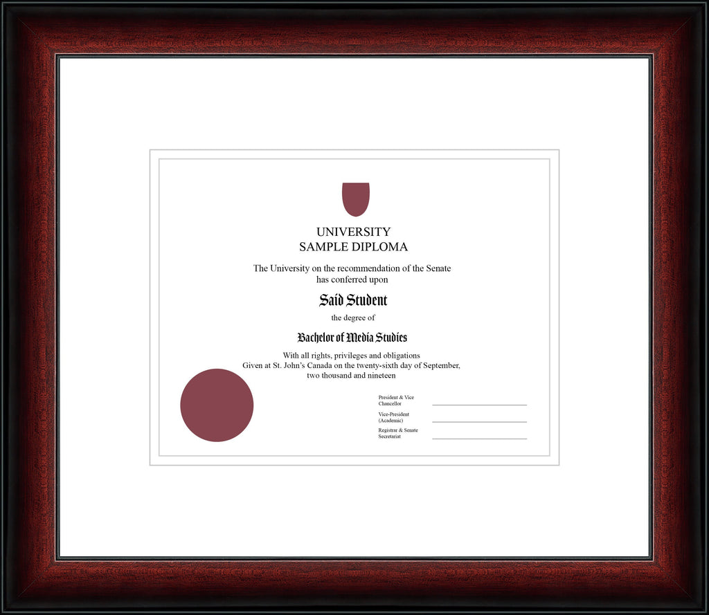 Cherry Classic Diploma Frame - Curbisde Drop Off Newfoundland Canvas White White Regular