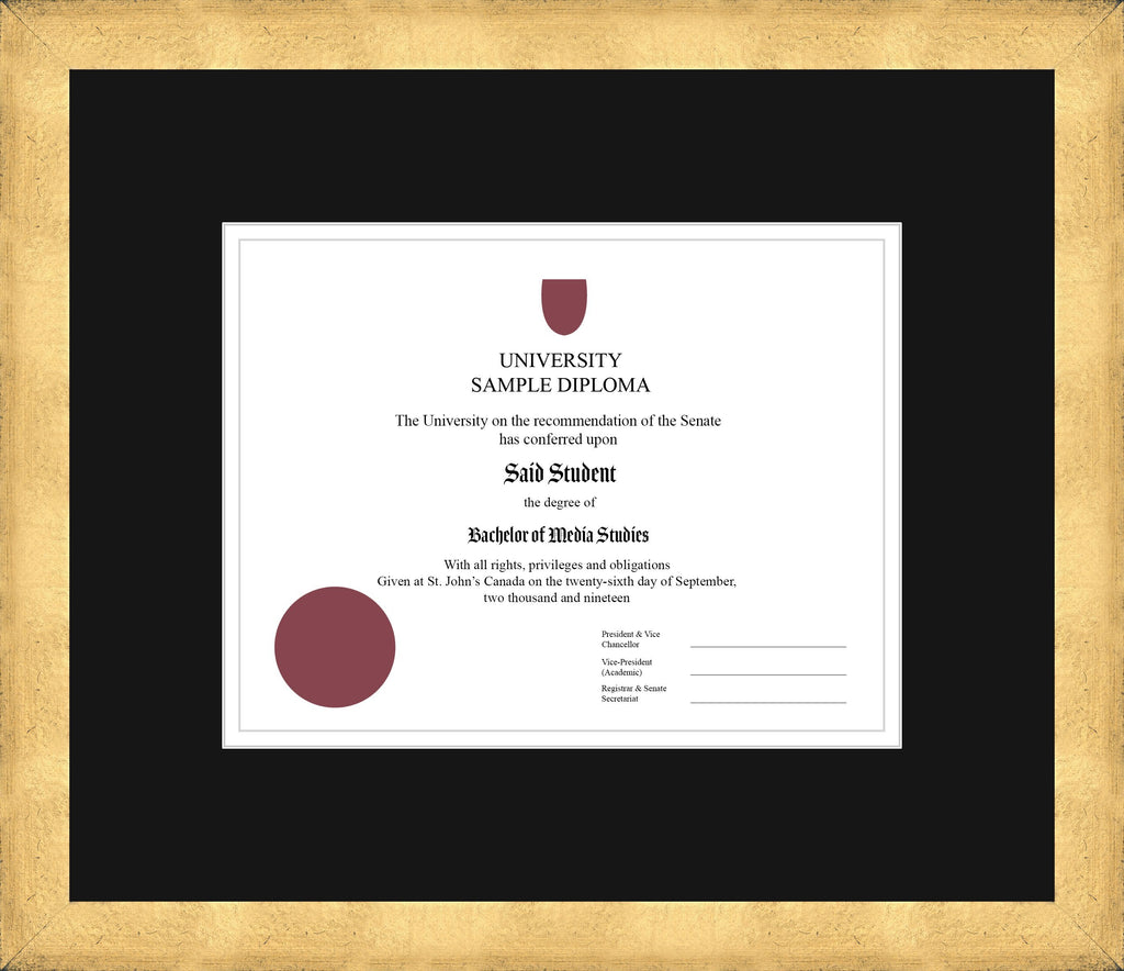 Cool Gold Diploma Frame - Curbside Drop Off Newfoundland Canvas Black White Regular