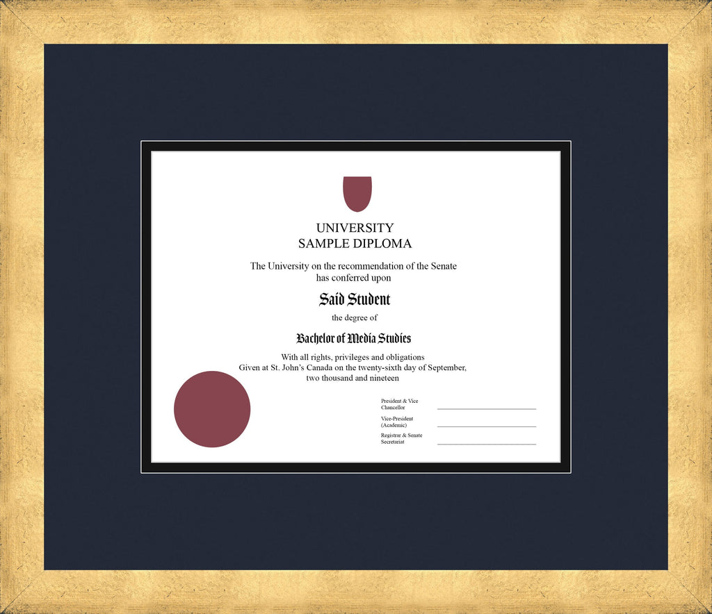 Cool Gold Diploma Frame - Curbside Drop Off Newfoundland Canvas Blue Moon Black Regular