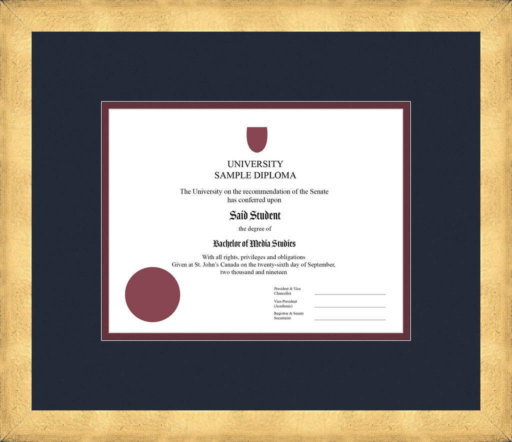 Cool Gold Diploma Frame - Curbside Drop Off Newfoundland Canvas Blue Moon Maroon Regular