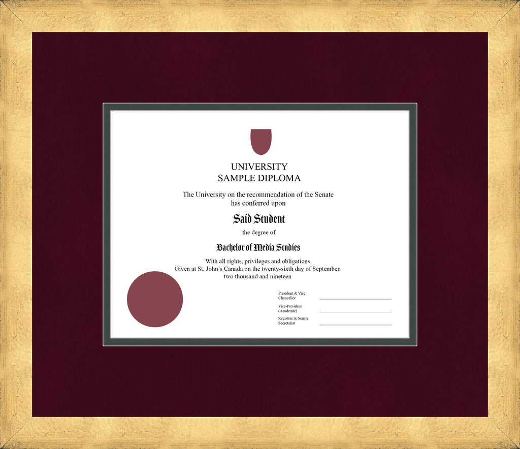 Cool Gold Diploma Frame - Curbside Drop Off Newfoundland Canvas Burgundy Suede Iron Regular
