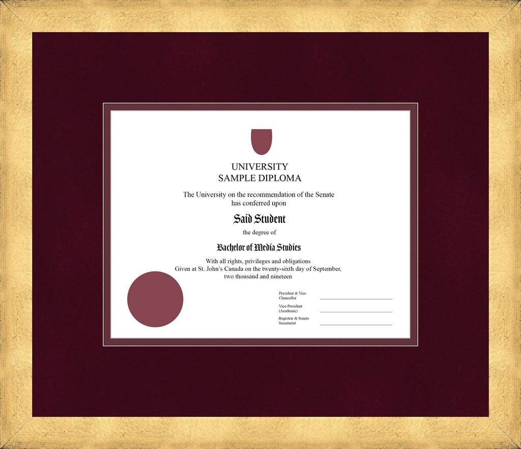 Cool Gold Diploma Frame - Curbside Drop Off Newfoundland Canvas Burgundy Suede Maroon Regular