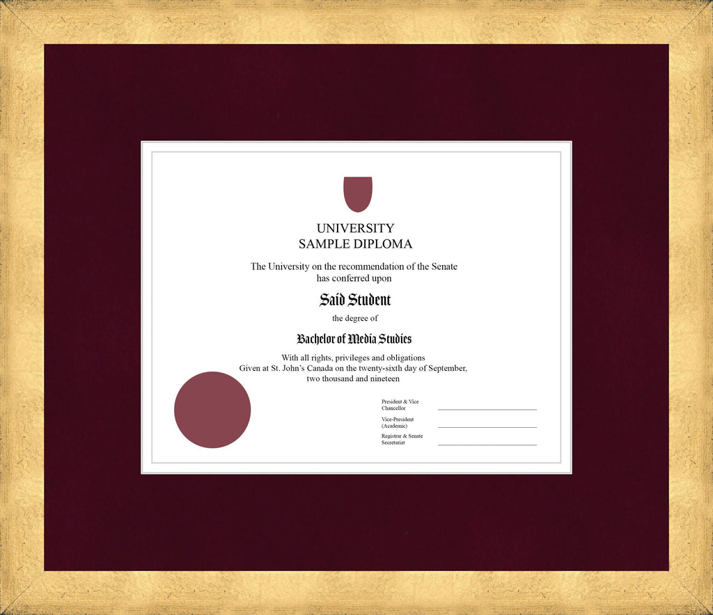 Cool Gold Diploma Frame - Curbside Drop Off Newfoundland Canvas Burgundy Suede White Regular