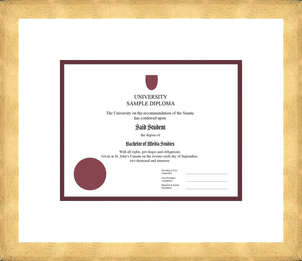 Cool Gold Diploma Frame - Curbside Drop Off Newfoundland Canvas White Maroon Regular