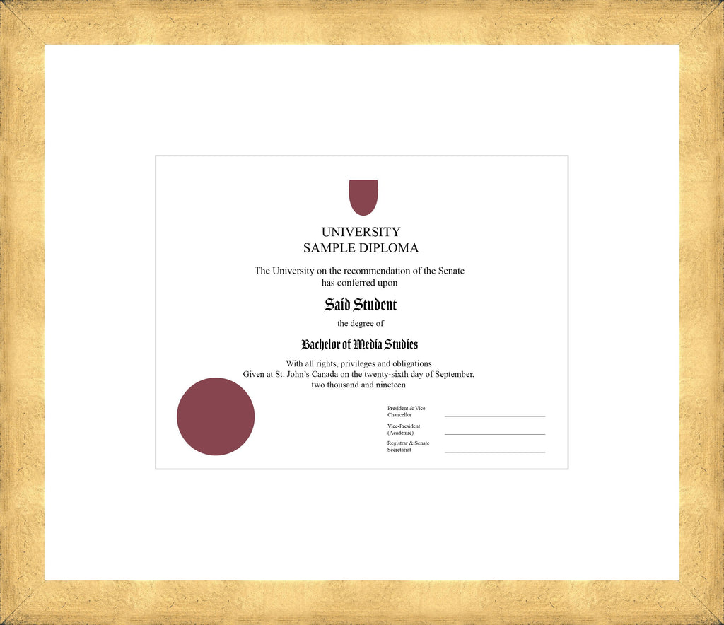 Cool Gold Diploma Frame - Curbside Drop Off Newfoundland Canvas White None Regular