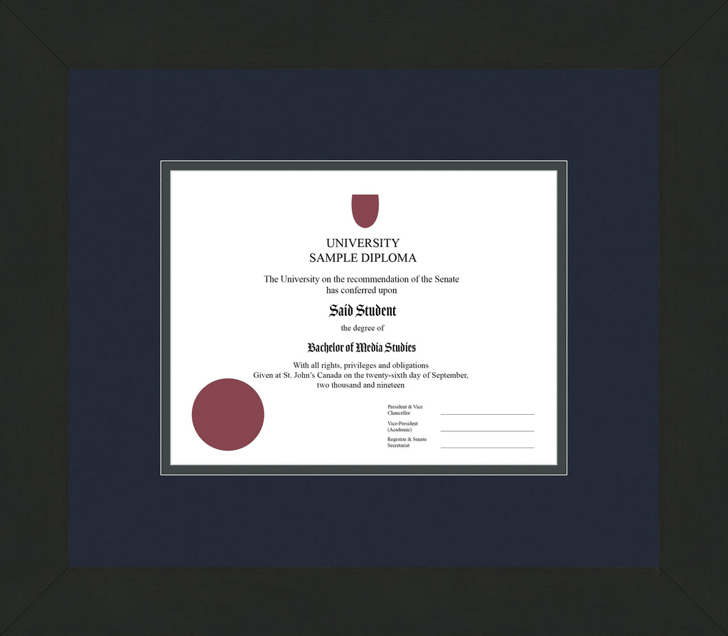 Wide Black Wenge Diploma Frame - Curbside Drop Off Newfoundland Canvas Blue Moon Iron Regular