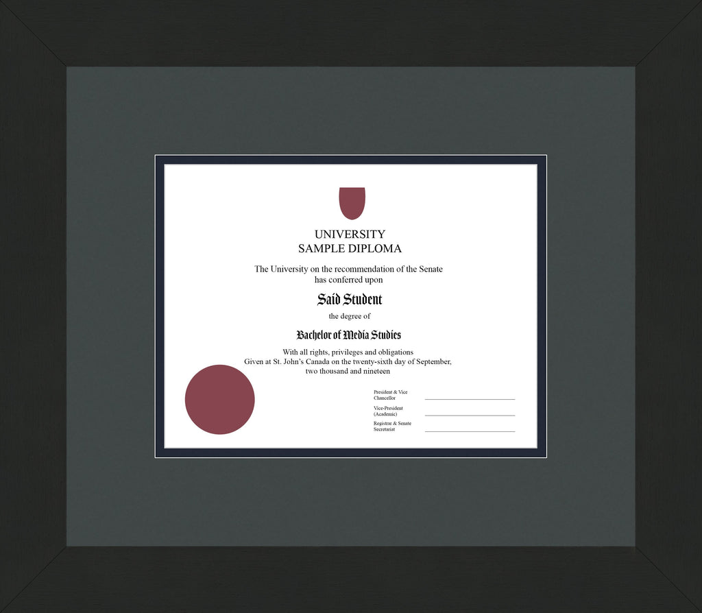 Wide Black Wenge Diploma Frame - Curbside Drop Off Newfoundland Canvas Iron Blue Moon Regular