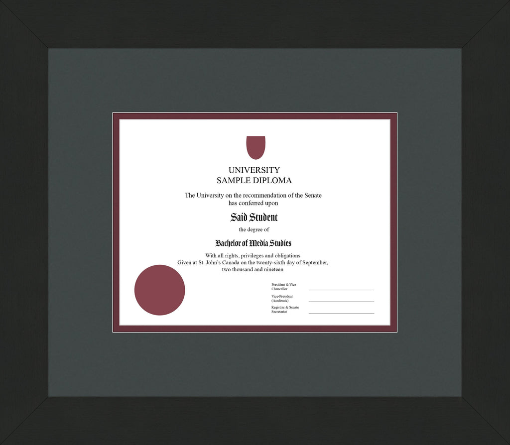 Wide Black Wenge Diploma Frame - Curbside Drop Off Newfoundland Canvas Iron Maroon Regular