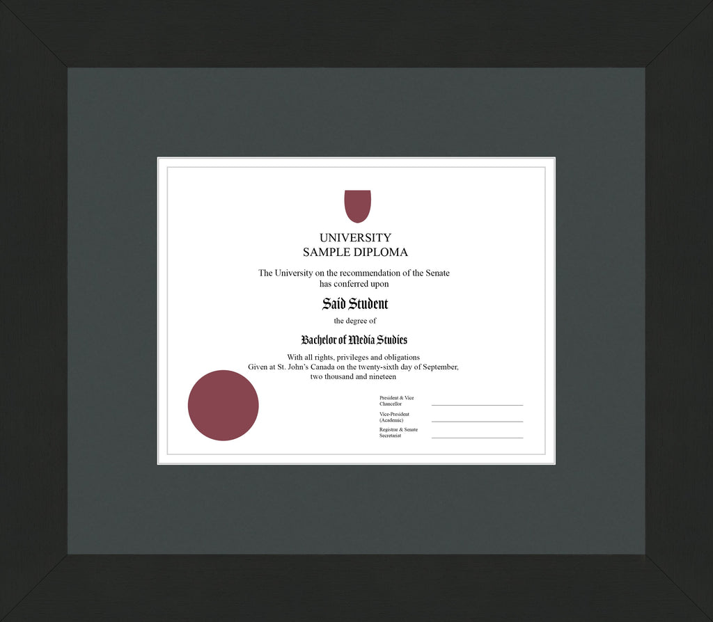Wide Black Wenge Diploma Frame - Curbside Drop Off Newfoundland Canvas Iron White Regular