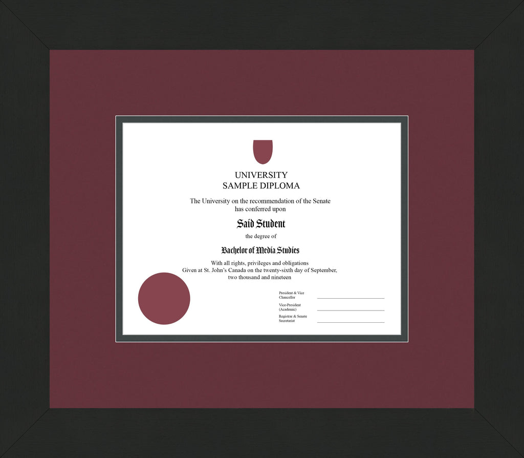 Wide Black Wenge Diploma Frame - Curbside Drop Off Newfoundland Canvas Maroon Iron Regular