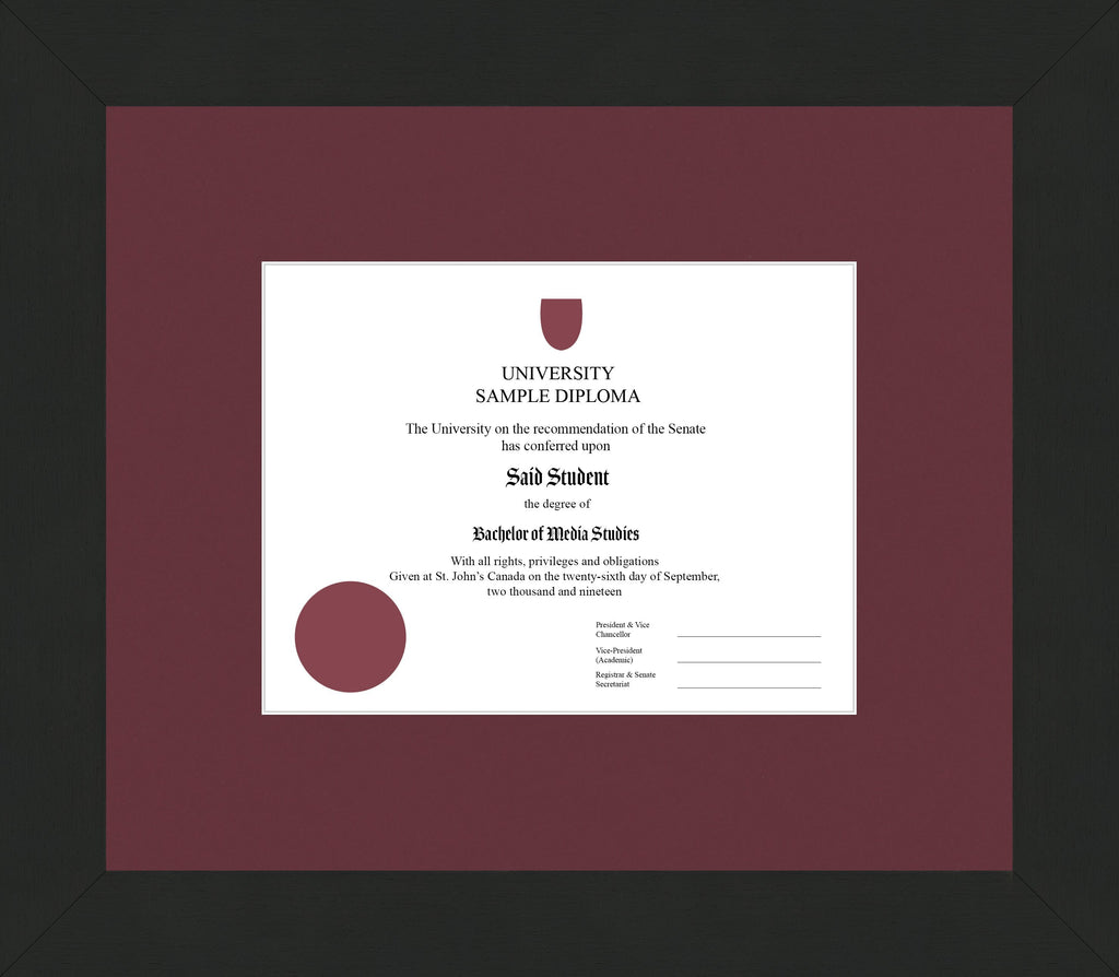 Wide Black Wenge Diploma Frame - Curbside Drop Off Newfoundland Canvas Maroon None Regular