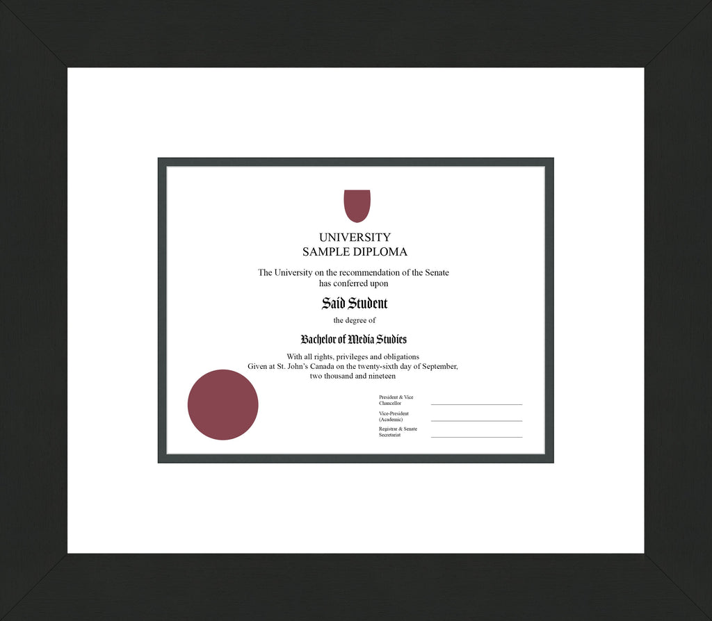 Wide Black Wenge Diploma Frame - Curbside Drop Off Newfoundland Canvas White Iron Regular