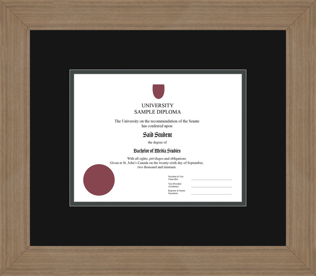 Wide Walnut Diploma Frame - Curbside Drop Off Newfoundland Canvas Black Iron Regular