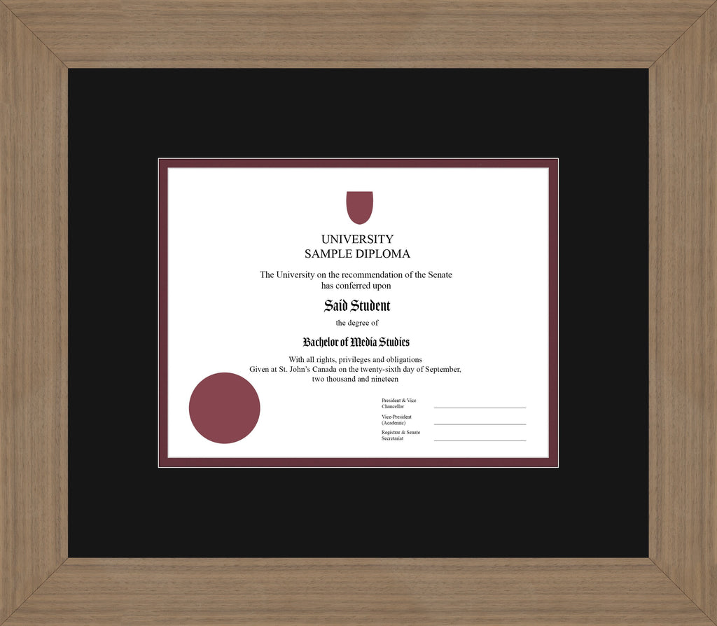 Wide Walnut Diploma Frame - Curbside Drop Off Newfoundland Canvas Black Maroon Regular
