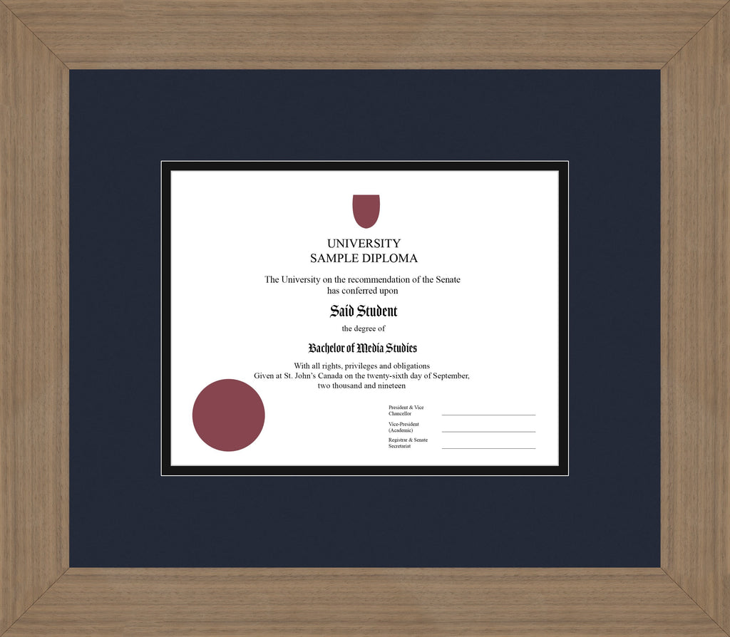 Wide Walnut Diploma Frame - Curbside Drop Off Newfoundland Canvas Blue Moon Black Regular