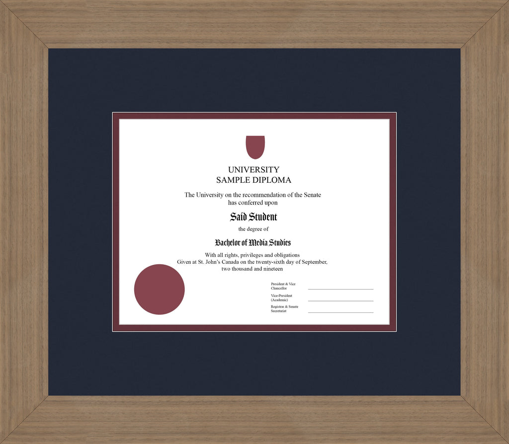 Wide Walnut Diploma Frame - Curbside Drop Off Newfoundland Canvas Blue Moon Maroon Regular