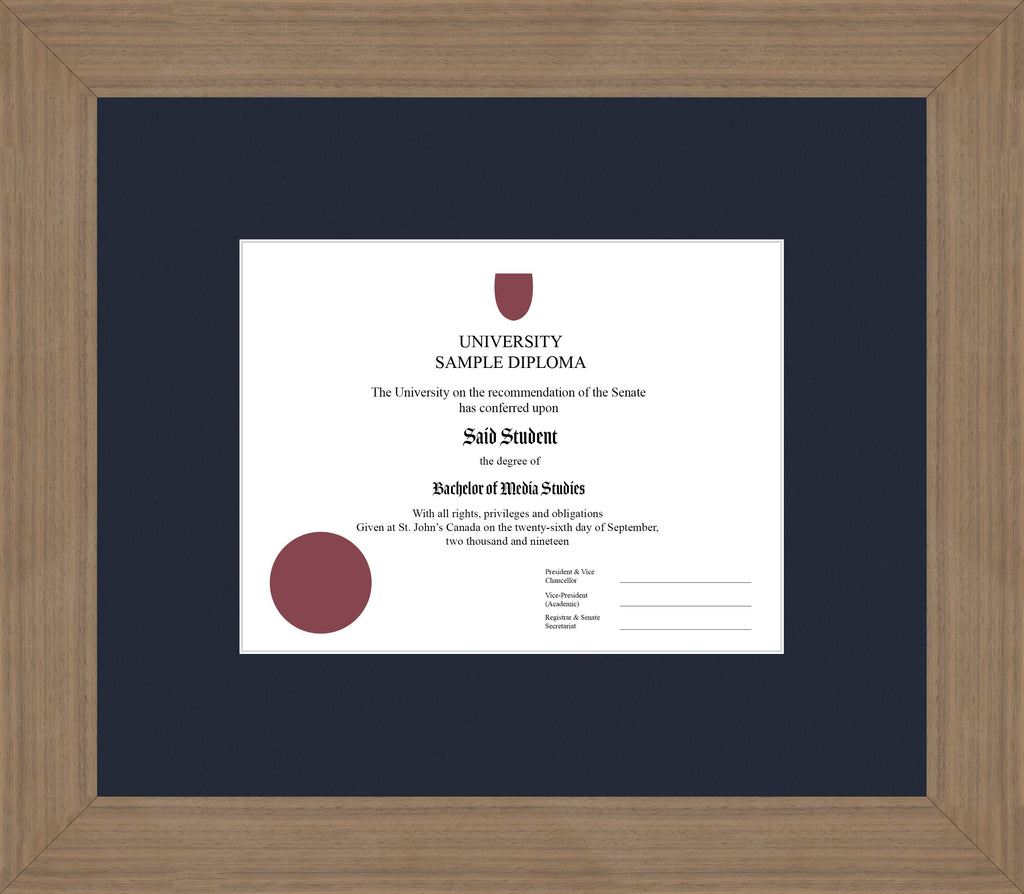 Wide Walnut Diploma Frame - Curbside Drop Off Newfoundland Canvas Blue Moon None Regular