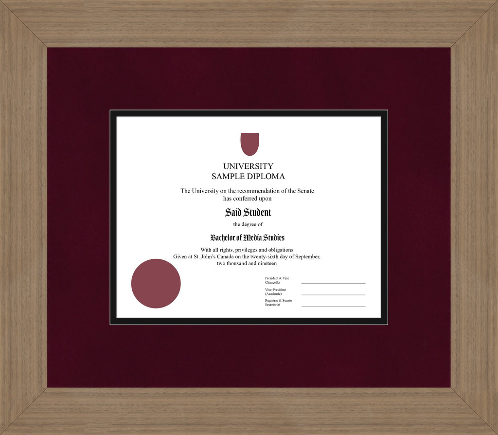 Wide Walnut Diploma Frame - Curbside Drop Off Newfoundland Canvas Burgundy Suede Black Regular