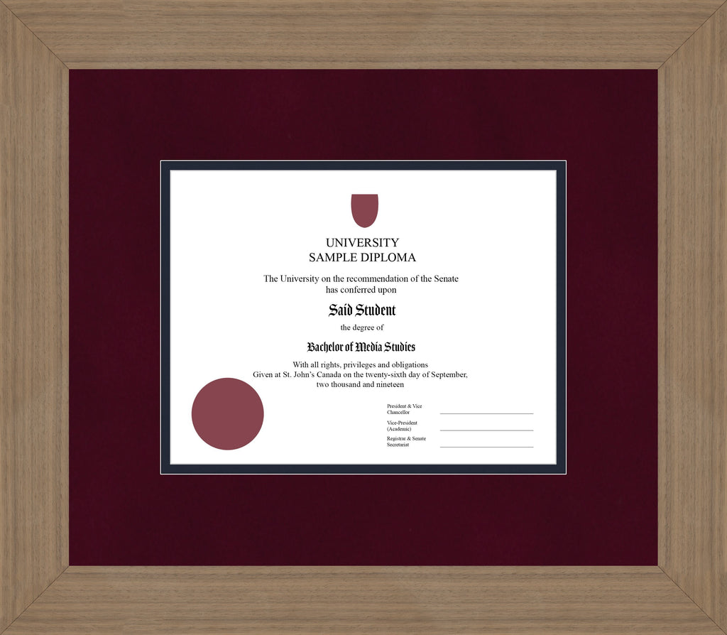 Wide Walnut Diploma Frame - Curbside Drop Off Newfoundland Canvas Burgundy Suede Blue Moon Regular