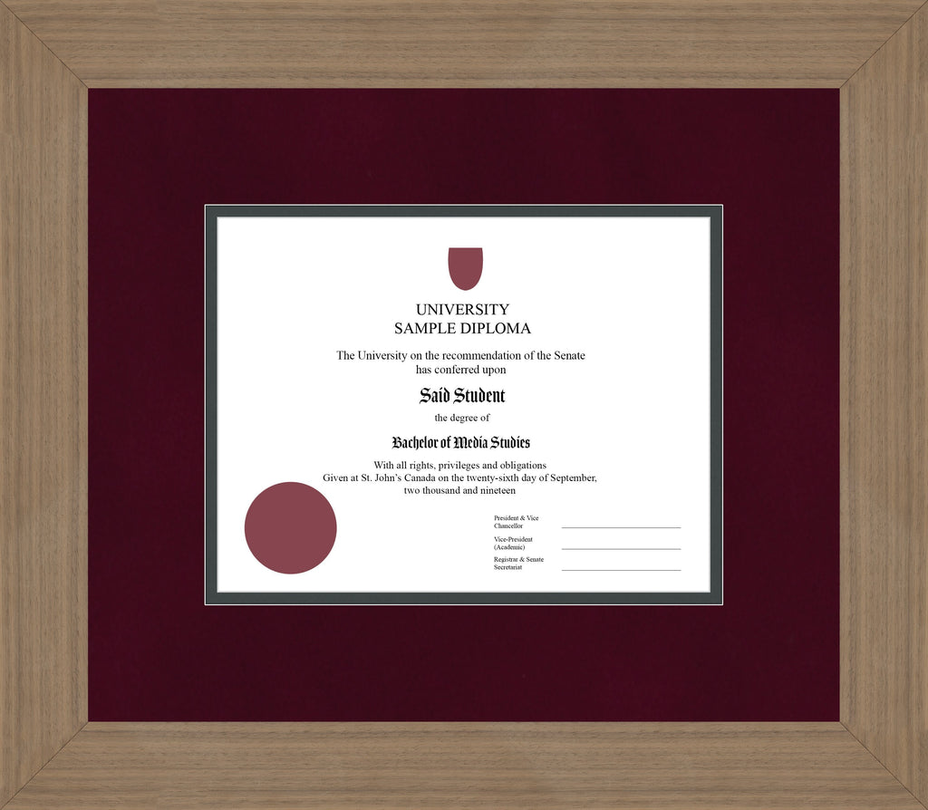 Wide Walnut Diploma Frame - Curbside Drop Off Newfoundland Canvas Burgundy Suede Iron Regular