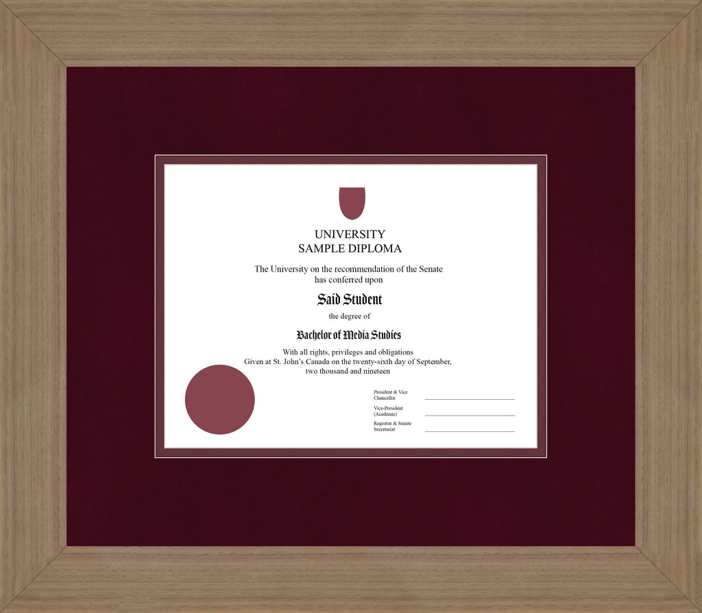 Wide Walnut Diploma Frame - Curbside Drop Off Newfoundland Canvas Burgundy Suede Maroon Regular