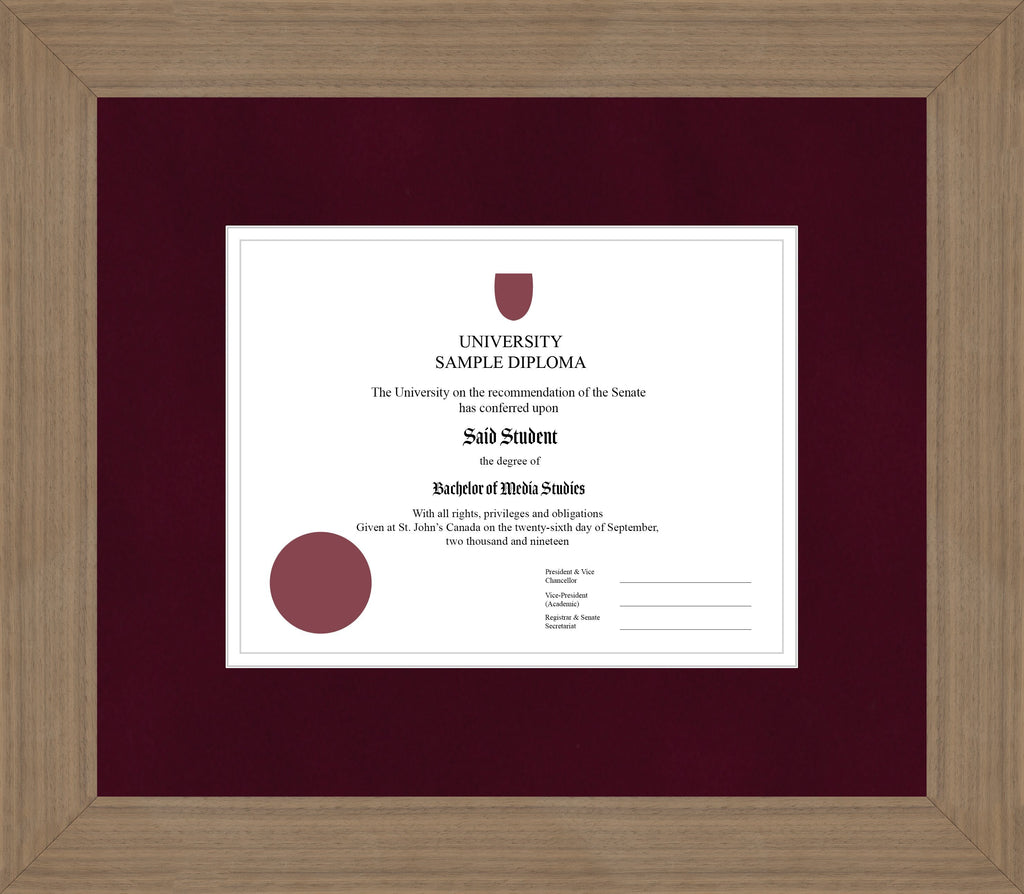 Wide Walnut Diploma Frame - Curbside Drop Off Newfoundland Canvas Burgundy Suede None Invisible Art Glass