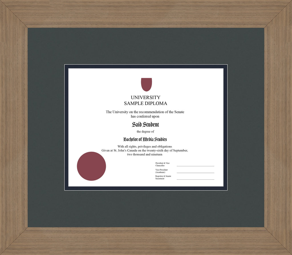 Wide Walnut Diploma Frame - Curbside Drop Off Newfoundland Canvas Iron Blue Moon Regular