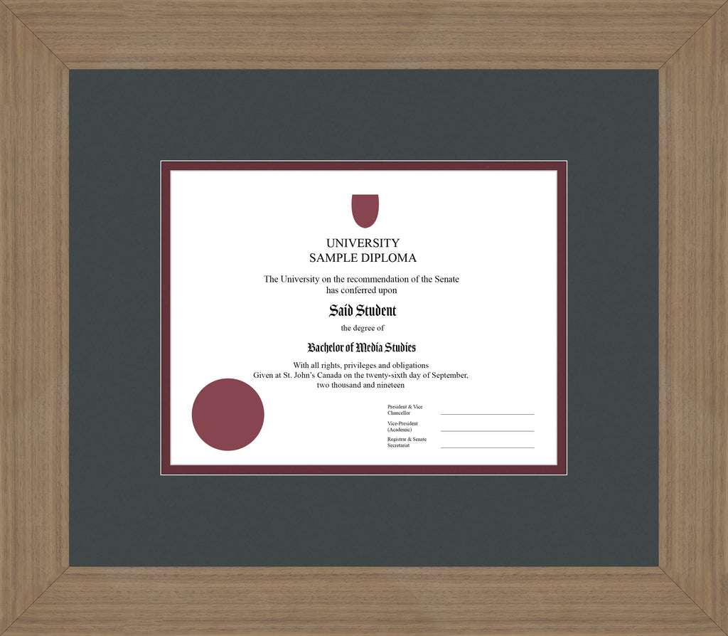 Wide Walnut Diploma Frame - Curbside Drop Off Newfoundland Canvas Iron Maroon Regular