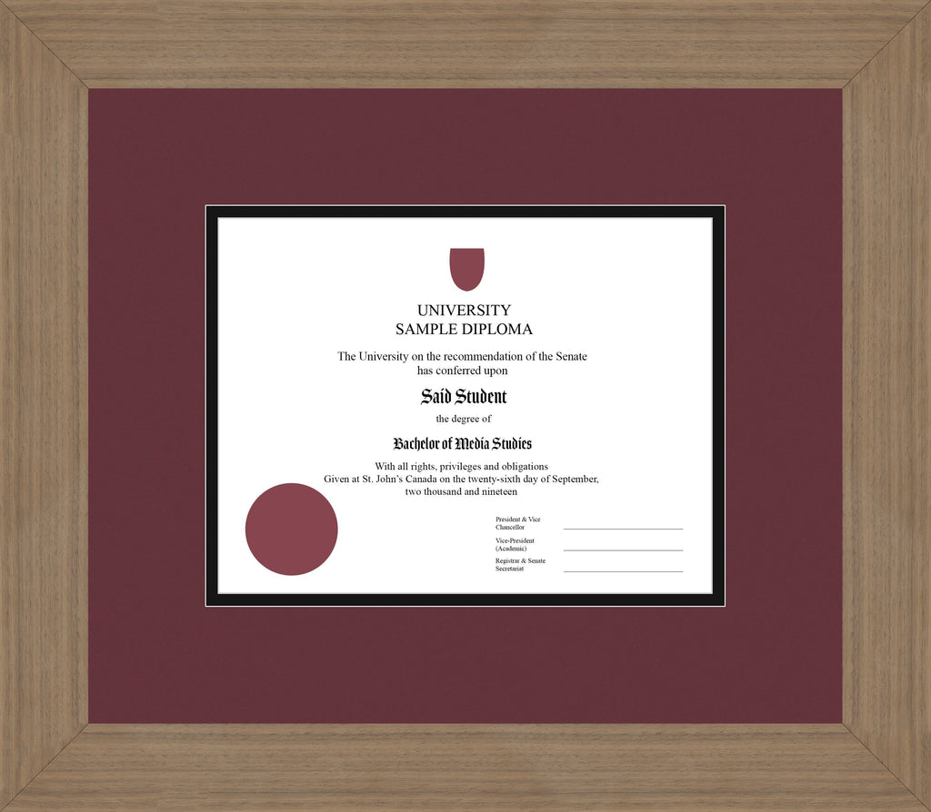 Wide Walnut Diploma Frame - Curbside Drop Off Newfoundland Canvas Maroon Black Regular