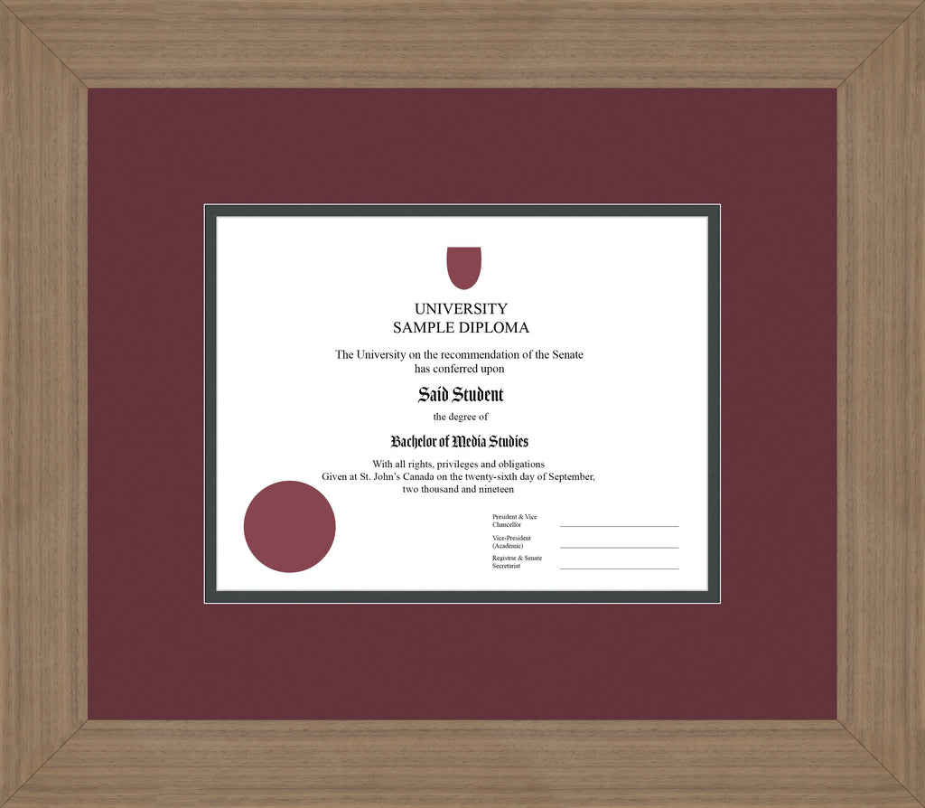 Wide Walnut Diploma Frame - Curbside Drop Off Newfoundland Canvas Maroon Iron Regular