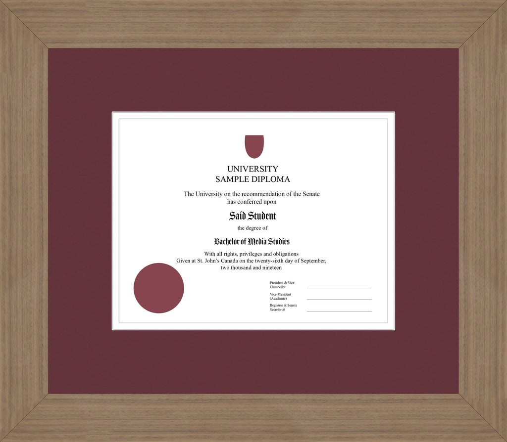 Wide Walnut Diploma Frame - Curbside Drop Off Newfoundland Canvas Maroon White Regular