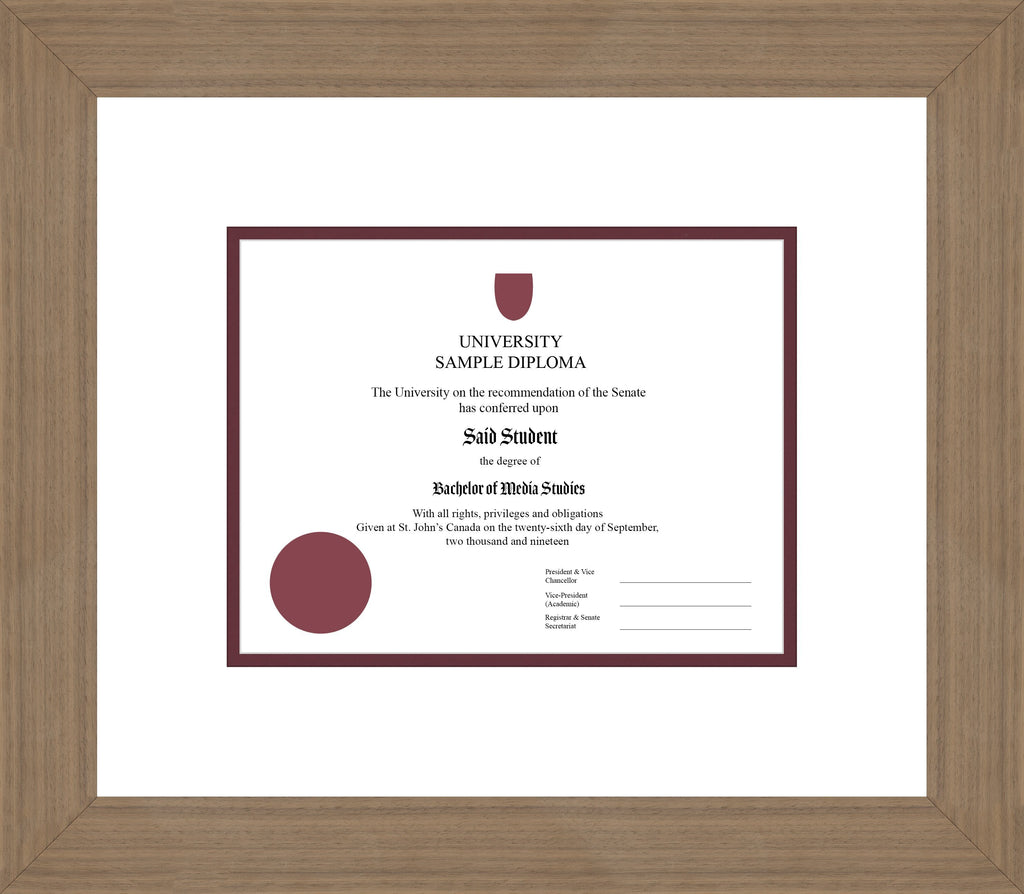 Wide Walnut Diploma Frame - Curbside Drop Off Newfoundland Canvas White Maroon Regular