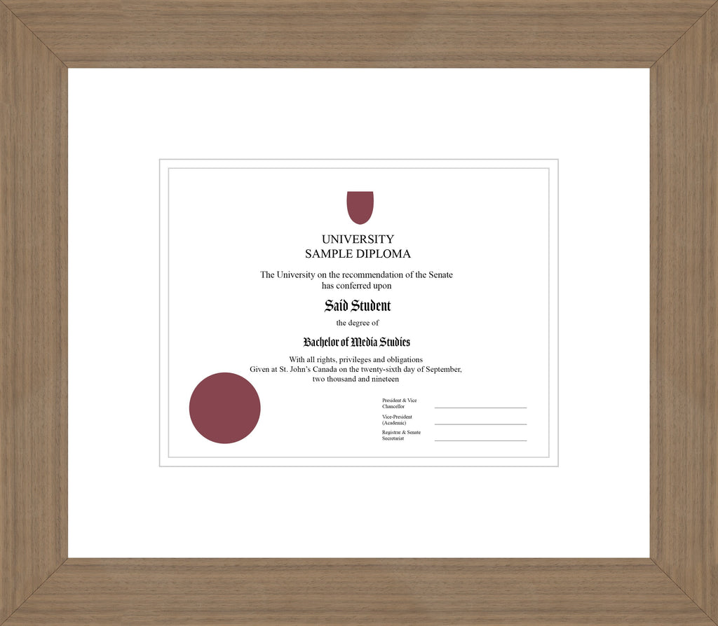 Wide Walnut Diploma Frame - Curbside Drop Off Newfoundland Canvas White White Regular