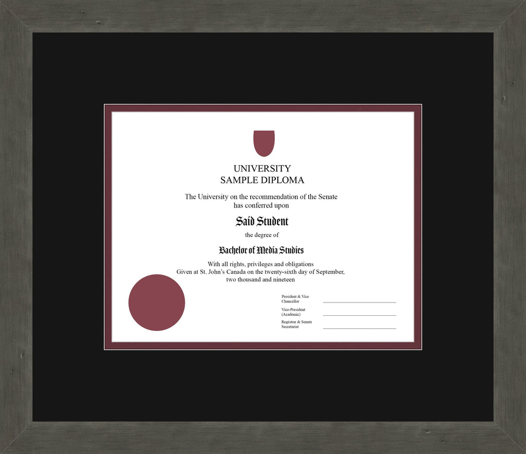 Distressed Zinc Diploma Frame - Curbside Drop Off Newfoundland Canvas Black Maroon Regular