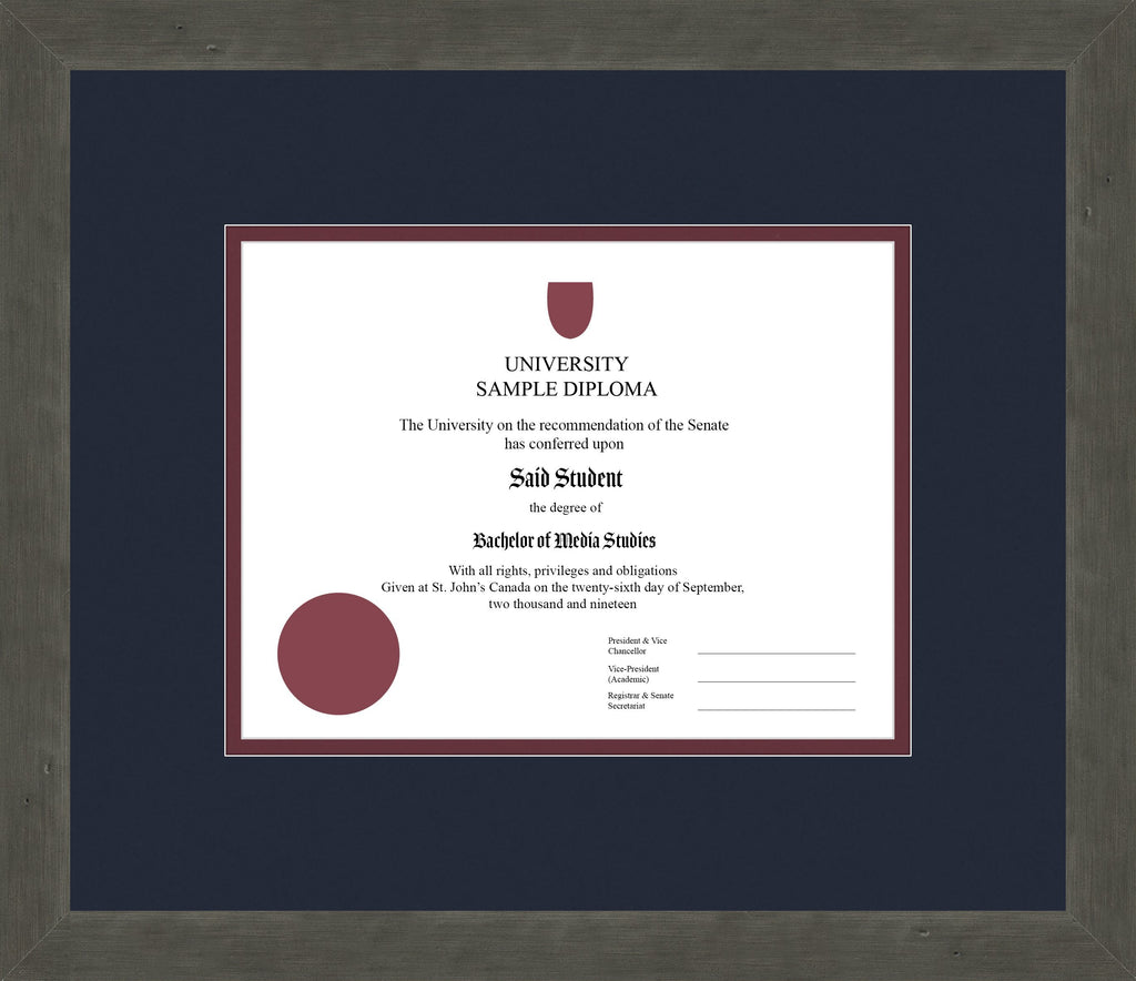 Distressed Zinc Diploma Frame - Curbside Drop Off Newfoundland Canvas Blue Moon Maroon Regular