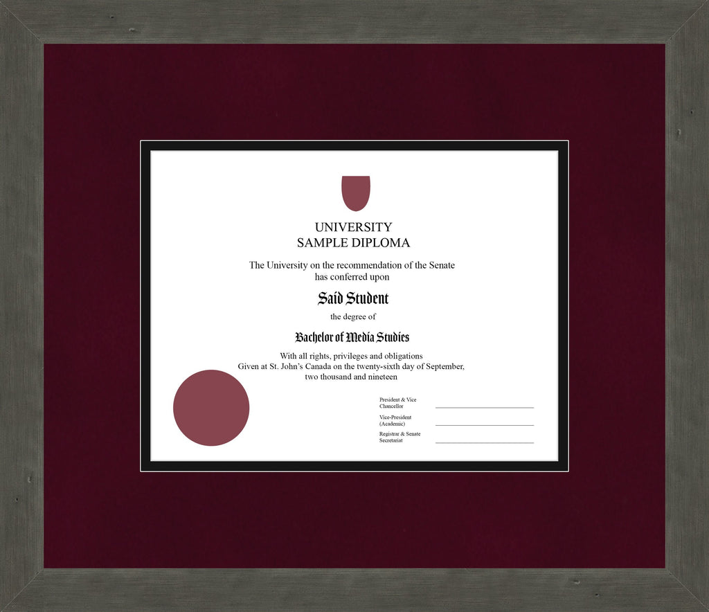 Distressed Zinc Diploma Frame - Curbside Drop Off Newfoundland Canvas Burgundy Suede Black Regular