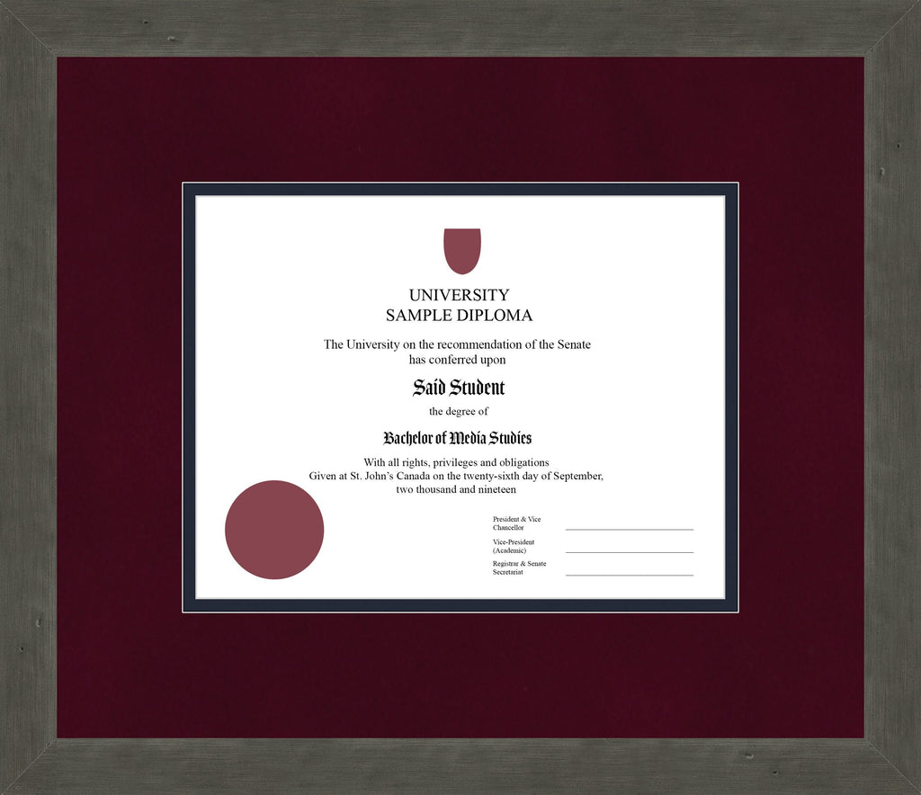 Distressed Zinc Diploma Frame - Curbside Drop Off Newfoundland Canvas Burgundy Suede Blue Moon Regular