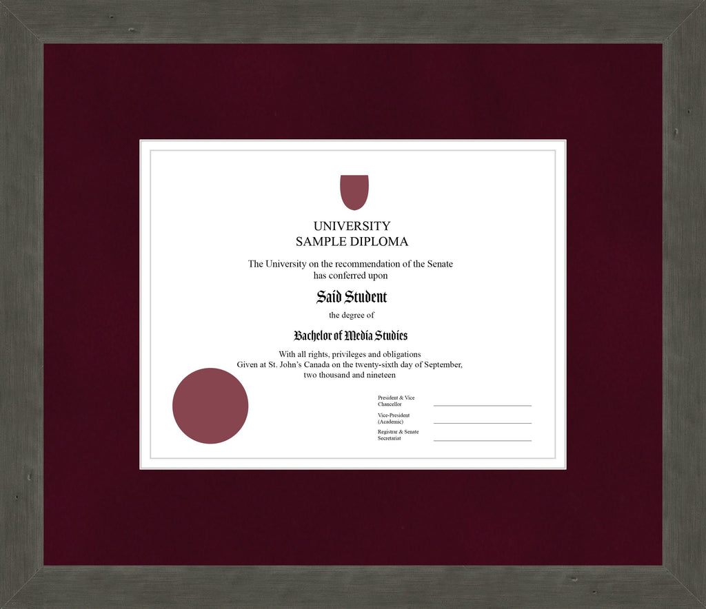 Distressed Zinc Diploma Frame - Curbside Drop Off Newfoundland Canvas Burgundy Suede White Regular