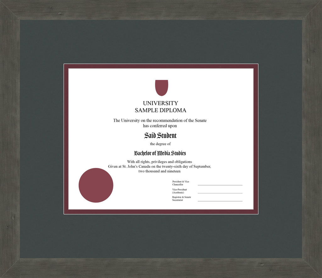 Distressed Zinc Diploma Frame - Curbside Drop Off Newfoundland Canvas Iron Maroon Regular