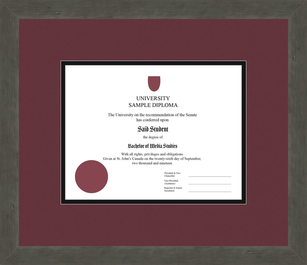Distressed Zinc Diploma Frame - Curbside Drop Off Newfoundland Canvas Maroon Black Regular