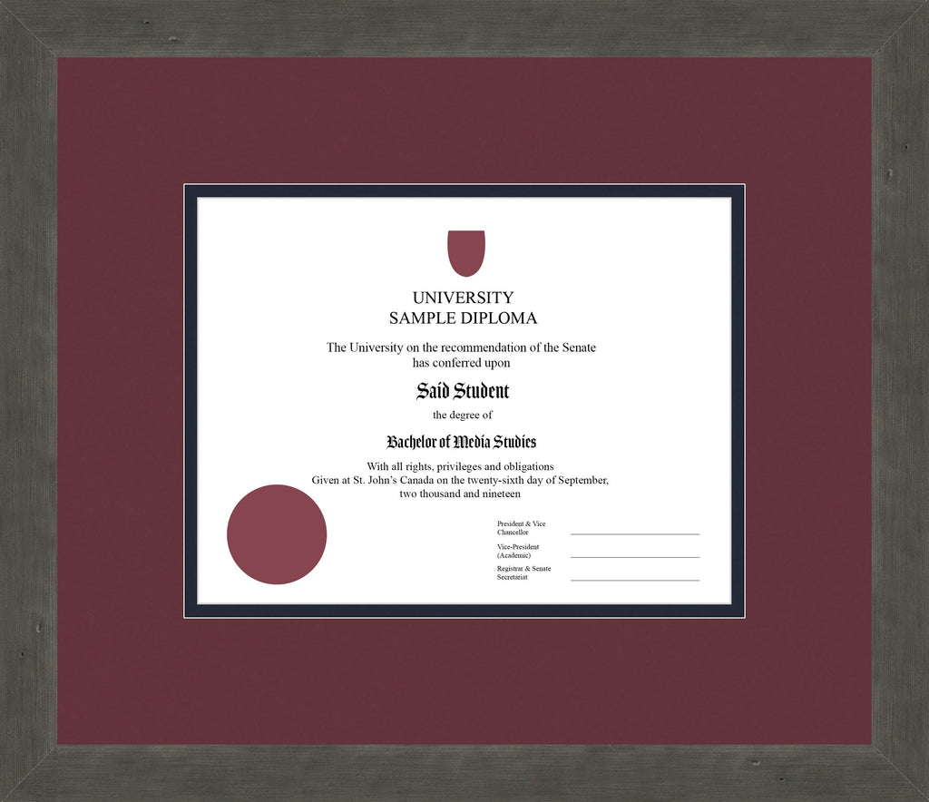 Distressed Zinc Diploma Frame - Curbside Drop Off Newfoundland Canvas Maroon Blue Moon Regular