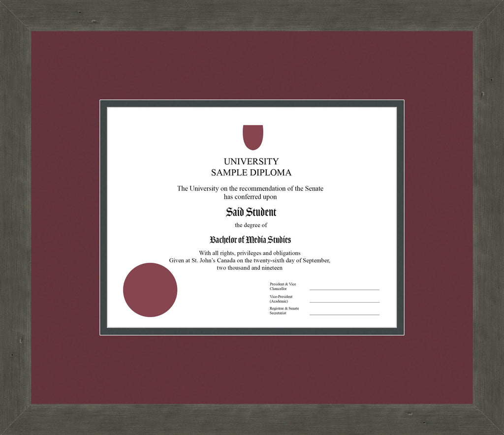 Distressed Zinc Diploma Frame - Curbside Drop Off Newfoundland Canvas Maroon Iron Regular