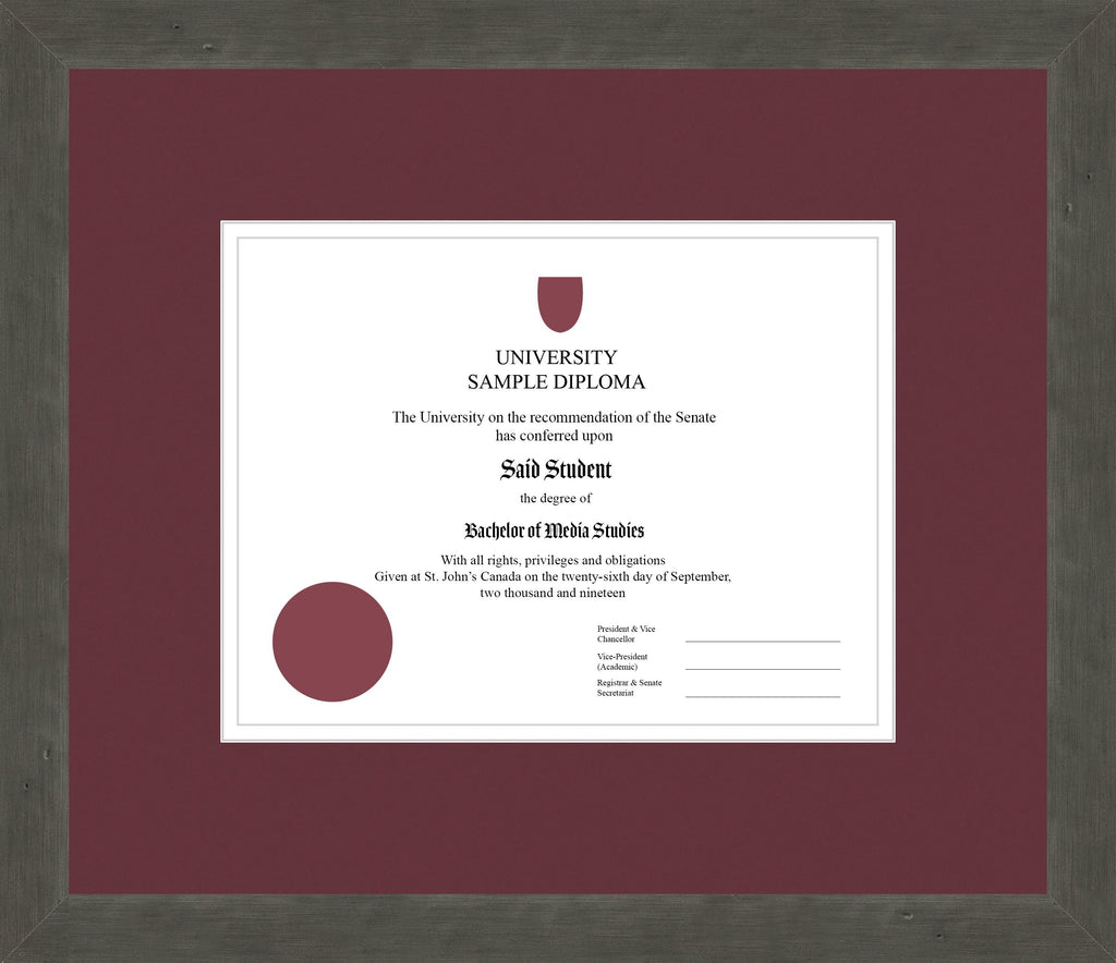 Distressed Zinc Diploma Frame - Curbside Drop Off Newfoundland Canvas Maroon White Regular