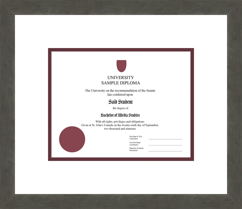 Distressed Zinc Diploma Frame - Curbside Drop Off Newfoundland Canvas White Maroon Regular