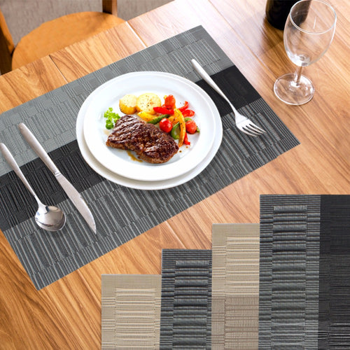 home 4pcslot placemat europe pvc dining table mats disc pads waterproof slip resistant - Kitchen Table Mats