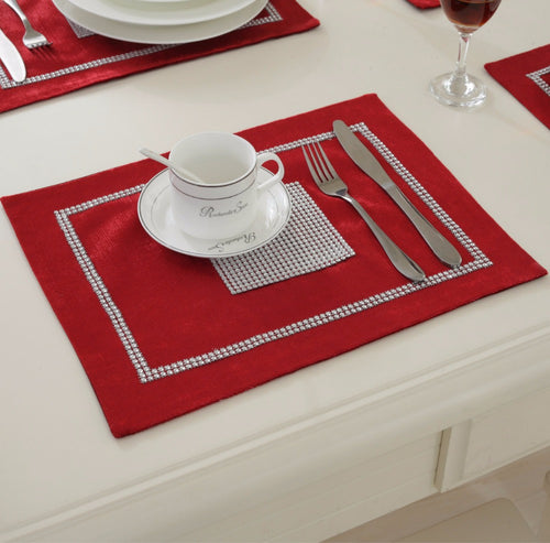 home 4pcslot 40x30cm modern luxury tableware placemats for wedding event christmas party decoration dinning - Kitchen Table Mats
