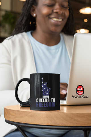 Image of Cheers To Freedom-Black Mug - HobnobStore