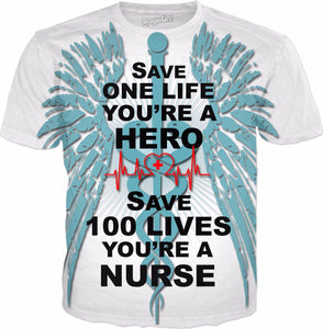 Save 100 Lives-Nurse T-Shirt - Hobnob Store