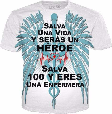 Save 100 Lives-Spanish-Nurse T-Shirt - Hobnob Store